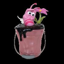 公仔Q版歡樂桶  氛圍燈無線藍芽音箱 粉色小花逗逗蟲 - (粉紅 Q 桶)